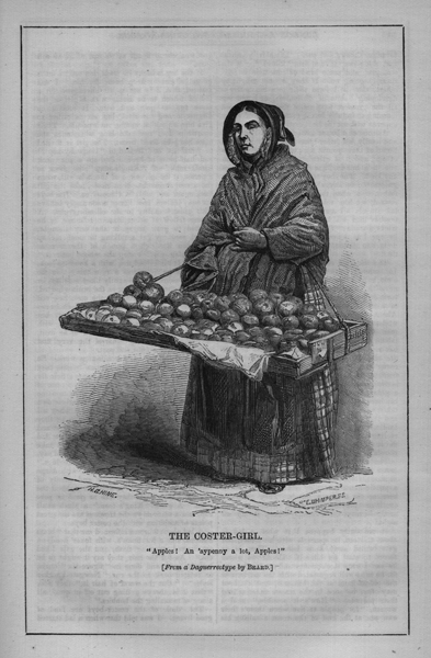 E. Whimpers. Coster-girl, 1851. From Edwin Bolles's London Labour London Poor, Volume 1