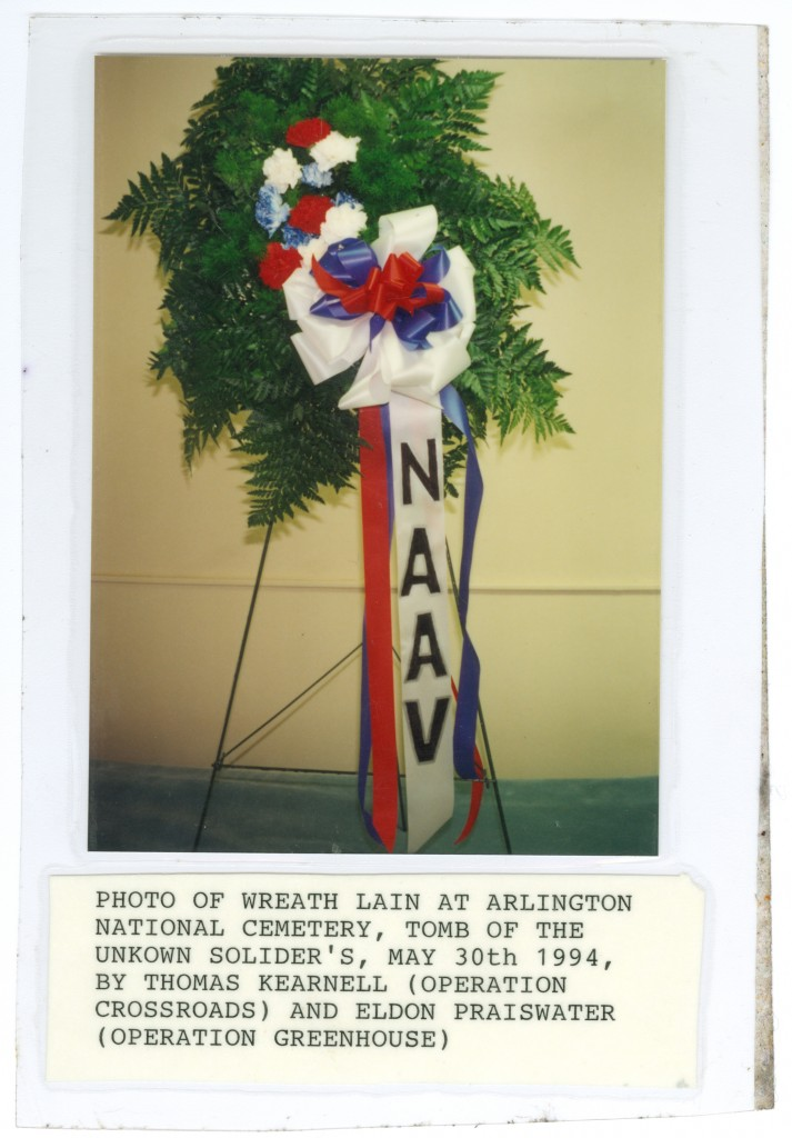 Photo of wreaths lain at Arlington National Cemetery, Tomb of the Unknown Soldier's, May 30, 1994, by Thomas Kearnell (Operation Crossroads) and Eldon Praiswater (Operation Greenhouse)
