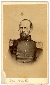 General Don Carlos Buell, wearing a uniform, with a short beard, and his title and name in cursive at the base of the card.