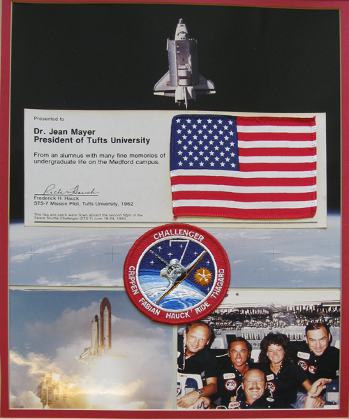 Patch, Flag, and mission photograph presented to Jean Mayer