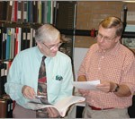 Researcher Philip J. Lampi and project director John B. Hench of the American Antiquarian Society
