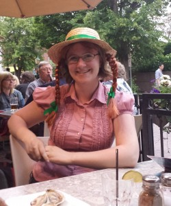 Erin wearing an Anne of Green Gables hat