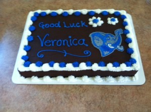 Veronica's farewell cake featuring a Fighting Jumbo.