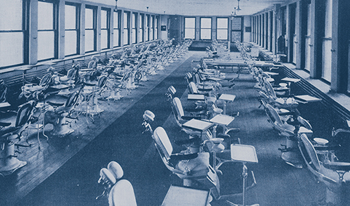 The dental school infirmary, as shown in the 1918 Dentufts yearbook.