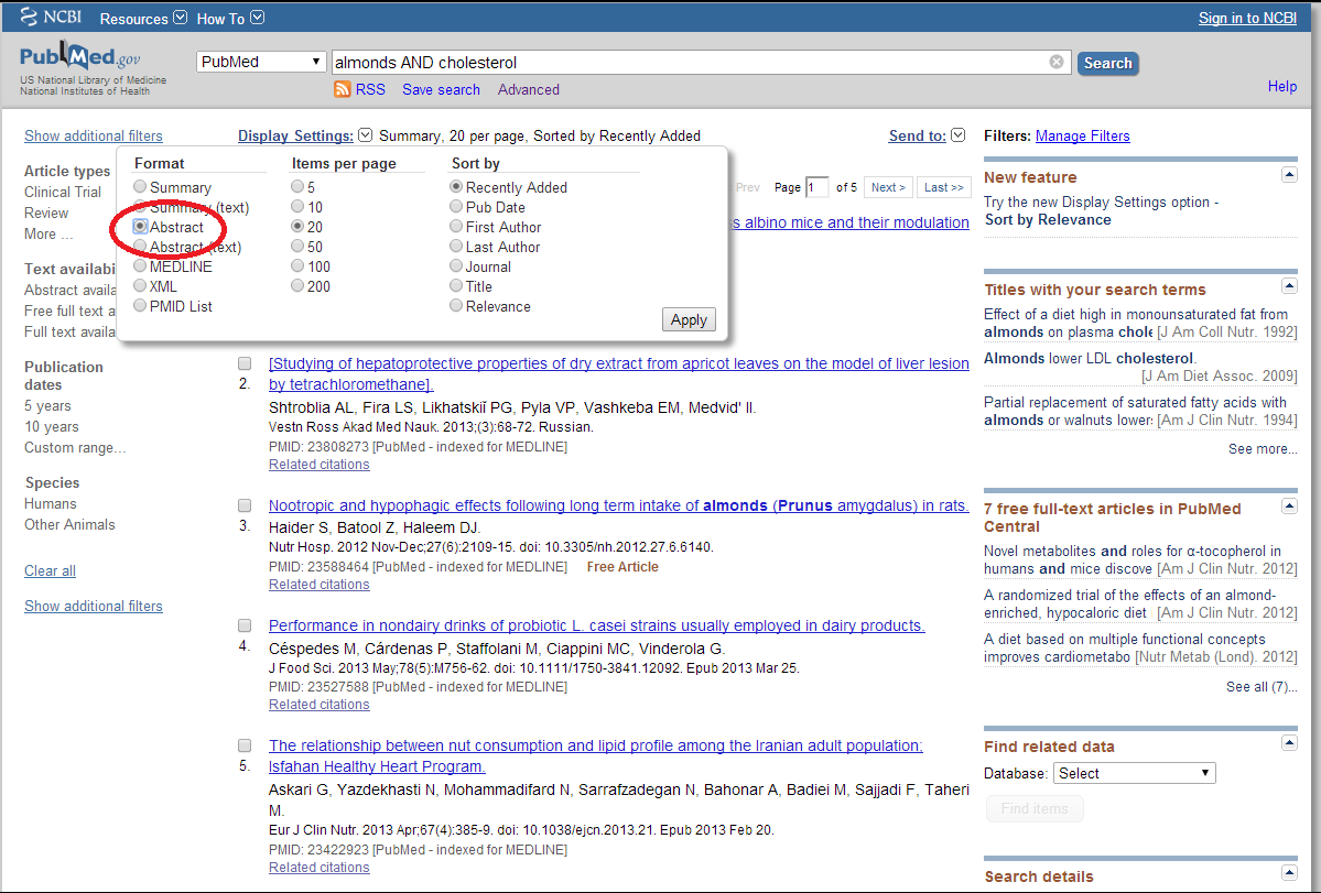 How to change to Abstract Display in PubMed