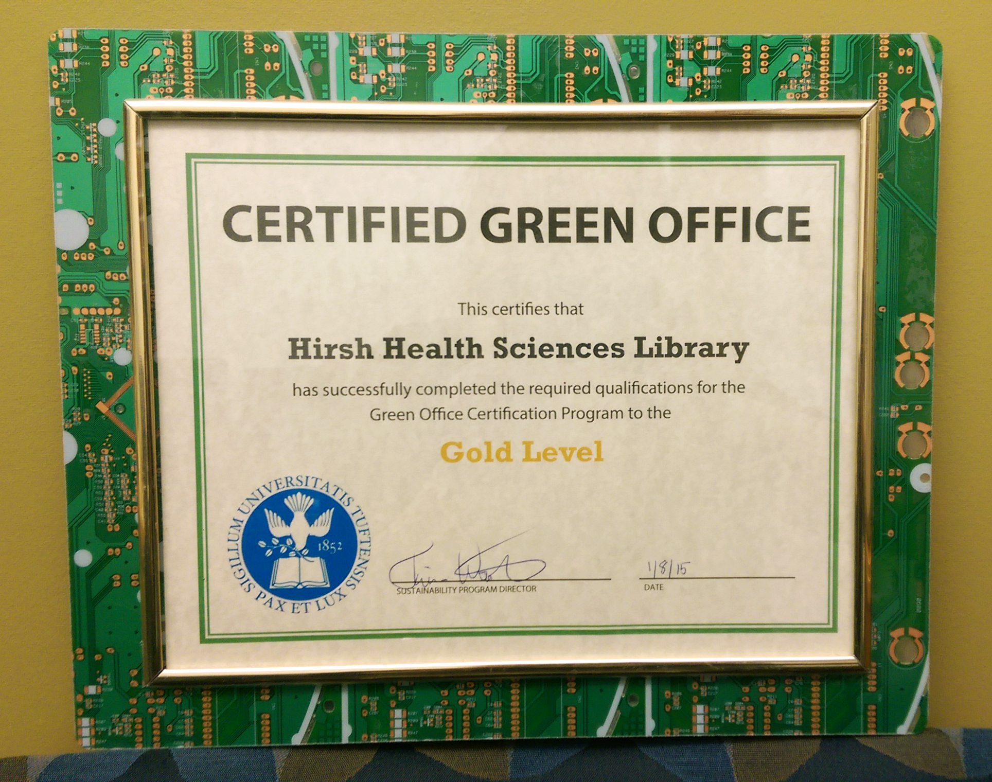 Hirsh Library Achieves Gold Level In Green Office Certification