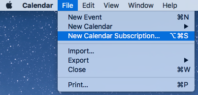 Adding an iCal feed to Apple Calendar