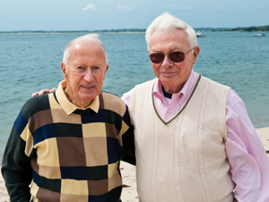 Bill McDermott, A53, M58, and Phil Sullivan, '58, at Monument Beach on Cape Cod. Photo: Alonso Nichols