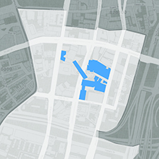 Tufts Medical Center (in blue) is surrounded by Chinatown. Source: U.S. Census 2000, Boston Redevelopment Authority Report, 2003