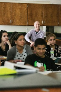 Berri Jacque visits a class at East Boston High School.