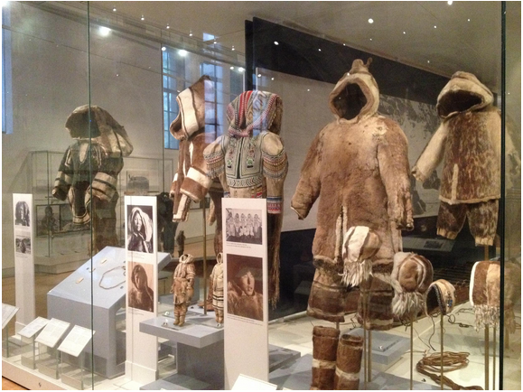 A display of fur parkas in the Daphne Cockwell Gallery of Canada: First Peoples at the Royal Ontario Museum.