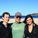 Chris, Tim and Kate on a group outing to Manly beach near Sydney