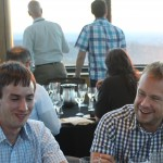 Tim and Chris at the conference dinner in the tower of Lehigh's Iacocca Hall.