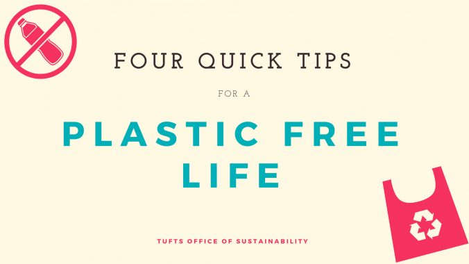 "Text: ""Four quick tips for a plastic free life"" with icons of a reusable bag and a plastic bottle with a line going through it."