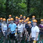 Everybody poses before getting ready to zipline through the jungle
