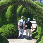 Chris and Will enjoy a romantic walk in this beautiful hedge garden