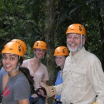 John, Suz, Chelsea, and Sonia getting ready to zipline