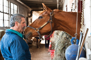 Cohen going nose to nose with Distant Sky, a 7-year-old Chestnut gelding. Photo: Alonso Nichols.