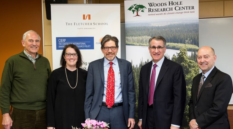 Photo of Tufts and Woods Hole leadership from left: William Moomaw, Professor Emeritus and current chair of the board of directors of the Woods Hole Research Center; Professor Kelly Sims Gallagher; Director of the Center for International Environment & Resource Policy at the Fletcher School; Philip Duffy, President and Executive Director of the Woods Hole Research Center; President Monaco; and Dean Stavridis.