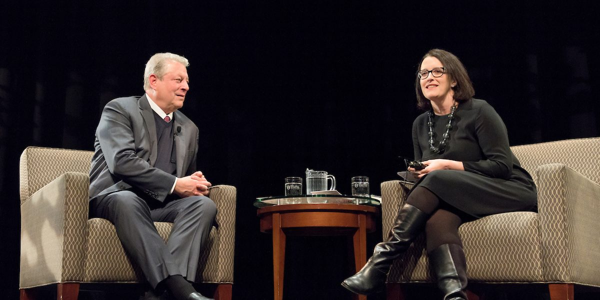 Prof. Gallagher moderates climate discussion with Al Gore