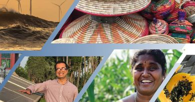 Collage of pictures : top left is of offshore windmills in waves, top right is a pile of colorful baskets, bottom right is a papaya cut in half, to the left is a photo of a smiling woman in a field, and bottom left is a photo of Rishkesh Bhandary smiling standing next to a solar panel