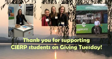 Image of thank you note from CIERP for supporting students on Giving Tuesday. Includes three photos of CIERP students on a background of mountains and a lake with leaves in the foreground