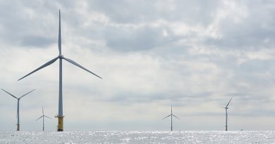Landscape photo of offshore windmills against a background of clouds