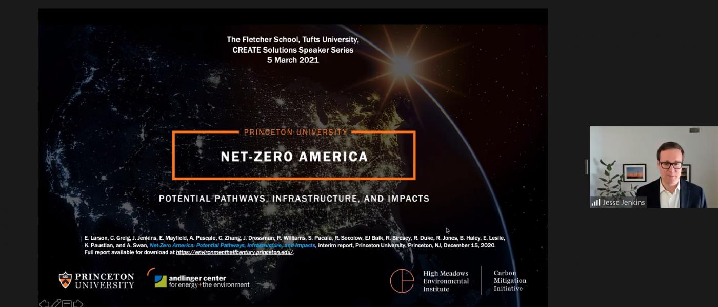 Watch the Tufts CREATE Solutions presentation by Prof. Jesse Jenkins on Princeton University's Net-Zero America Study