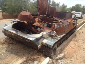 An MT-LB of the Nigerian Army photographed in May 2015. It was captured by Boko Haram and destroyed during military operations near Marrabara, Adamawa state, in March 2015. Wikimedia/Creative Commons, Jambanja2009.