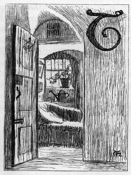 A woodcut illustration of an open door inscribed with a cursive T