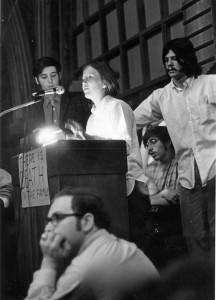 Marjorie Keller speaks at first strike meeting after death of students at Kent State University, 1970 http://hdl.handle.net/10427/2259