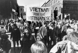 Students marching in protest of Vietnam War, October 1969