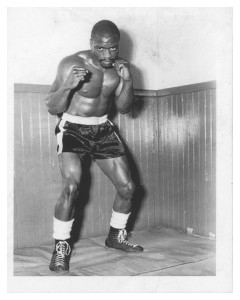 "Rubin Carter in a boxing promo picture, circa 1950s-1960s. Rubin ""Hurricane"" Carter papers, MS226.006.013.00003."