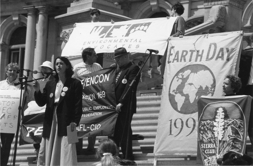 Lois Gibbs speaking at 1996 Earth Day rally in Albany, NY.