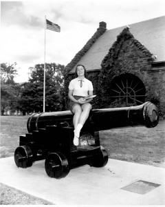 A Jackson College student poses with the cannon, ca. 1960s.  http://hdl.handle.net/10427/1930