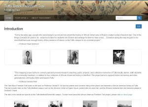 Screenshot of the Tufts Black Freedom Trail walking tour online exhibit