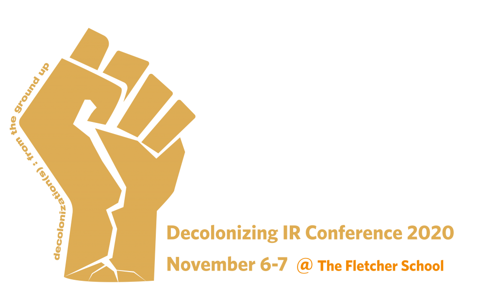 "A yellow clenched left fist, with white roots stemming from the wrist. The words ""decolonization(s): from the ground-up"" curve up and around the left side of the fist."