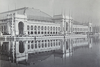 a photograph of the Manufactures and Liberal Arts Building, which was large enough to house six baseball fields.