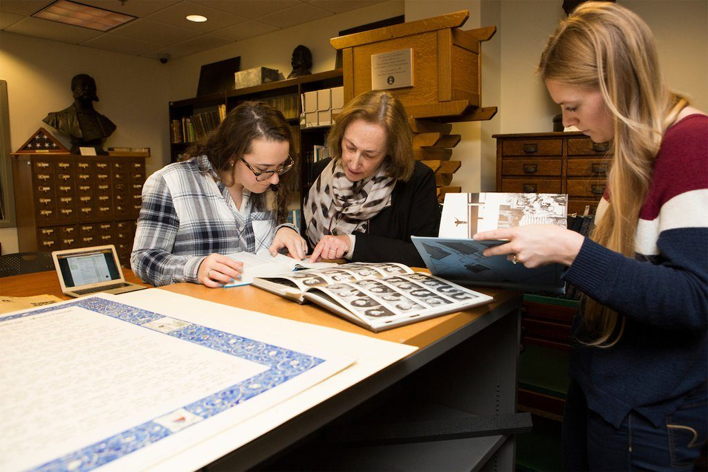 Students and faculty working in Tisch's Special Collections
