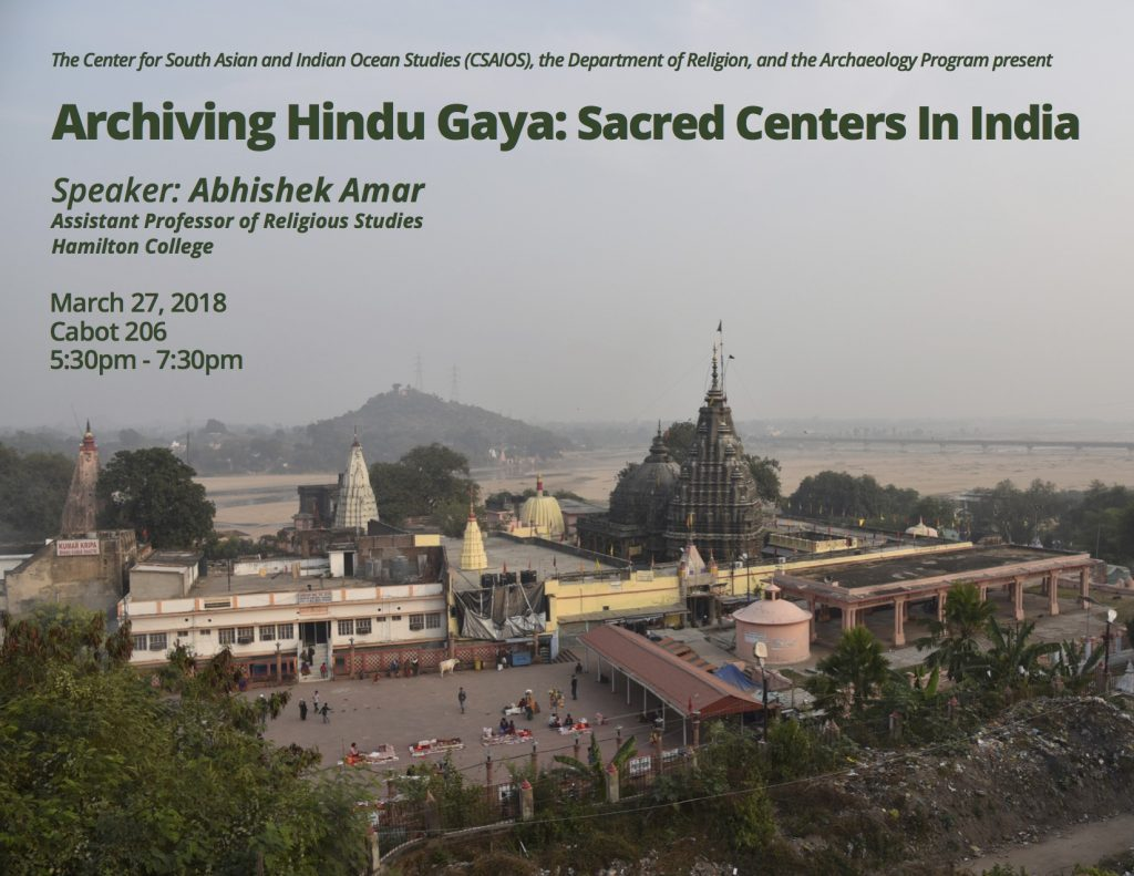 Poster for March 27th talk with Vishnupad Temple, Gaya, India in the background