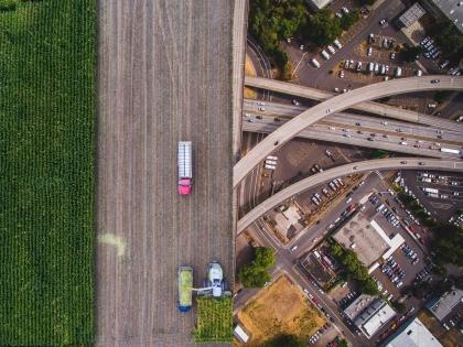 An aerial capture of I-405 interchange in Portland Oregon