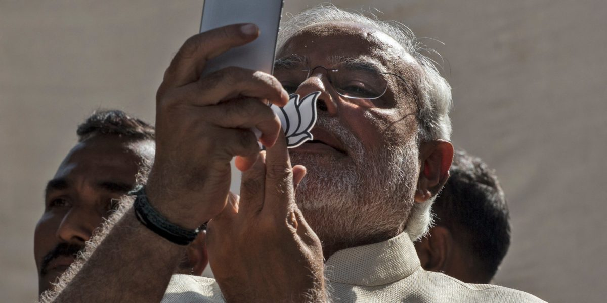 Narendra Modi with cell phone