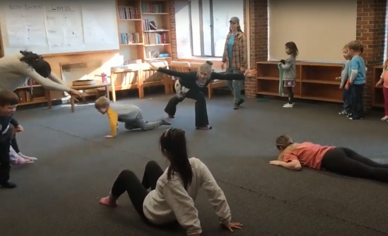 Professor Renata Celichowska, Senior Lecturer and Director of Tufts Dance Program, leads vigorous and lively movement and dance classes for our young dancers, ably assisted by her enthusiastic students.