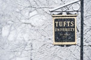 Tufts campus in a snowstorm