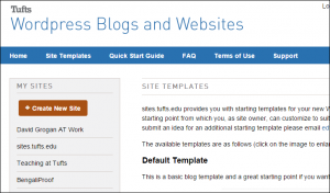 Screenshot of WordPress site setup