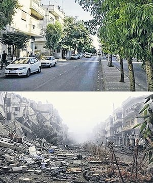 Street in Syria pre and post war