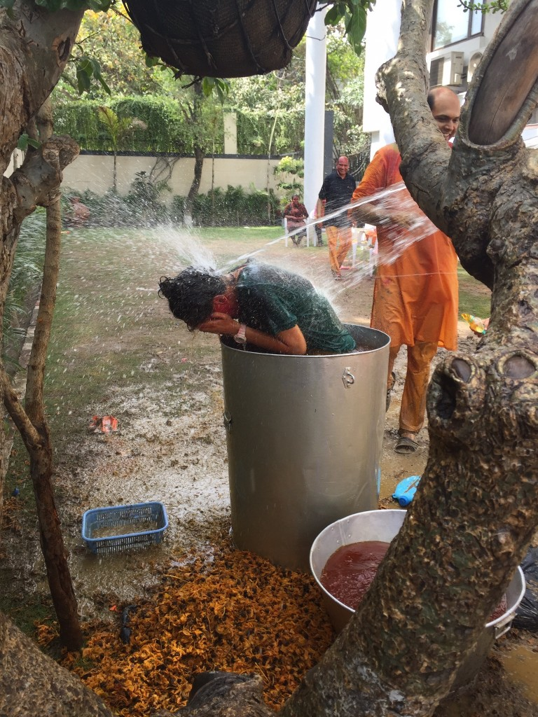 Holi traditions - dye barrel