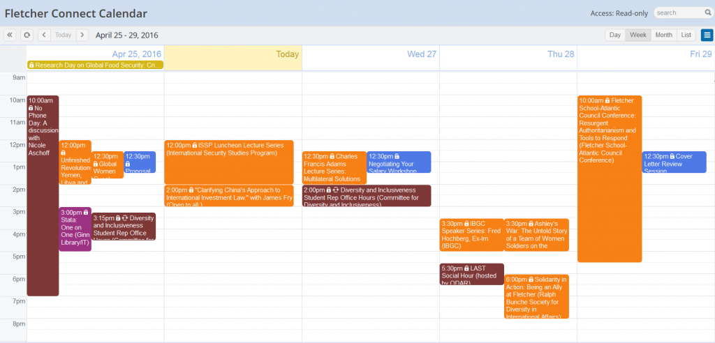 This week's calendar