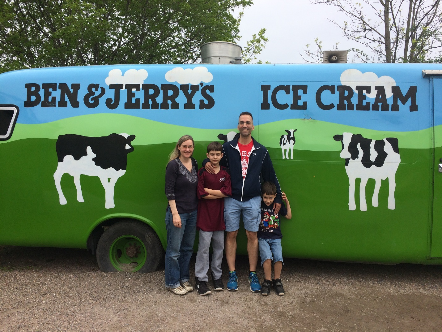 Gary and family at Ben and Jerry's