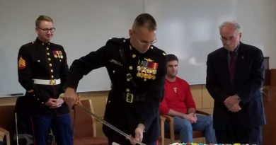 USMC birthday cake cutting ceremony